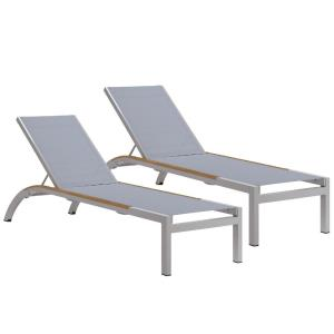 Argento - 79 Inch Armless Chaise Lounge with Sling (Set of 2)