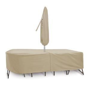 "135x60"" Oval/Rectangular Table and Chair Cover with Umbrella Hole"