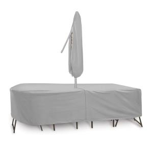 "108x60"" Oval/Rectangular Table and Chair Cover with Umbrella Hole"