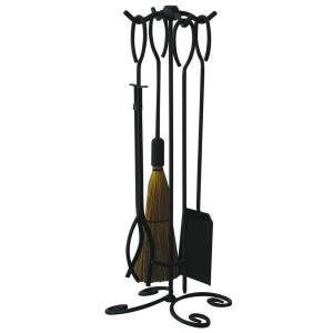 5 Piece Wrought Iron Fireset with Ring Handle