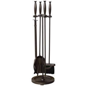 5 Piece Bronze Fireset with Cylinder Handle