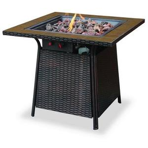 "Uniflame - 32"" Liquid Propane Gas Outdoor Firebowl with Tile Mantel"
