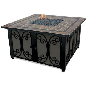 Uniflame - Liquid Propane Gas Square Outdoor Firebowl with Slate Tile Mantel