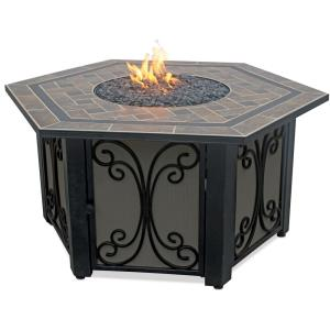 Uniflame - Liquid Propane Gas Hexigon Outdoor Firebowl with Slate Tile Mantel