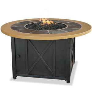 "Uniflame - 42.9"" Liquid Propane Gas Outdoor Firebowl with Slate/Faux Wood Mantel w/Cover"