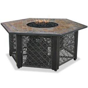"Uniflame - 55.1"" Liquid Propane Gas Outdoor Firebowl with Slate Tile Mantel"