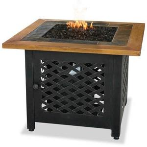 "Uniflame - 32.1"" Liquid Propane Gas Outdoor Firebowl with Slate/Faux Wood Mantel"