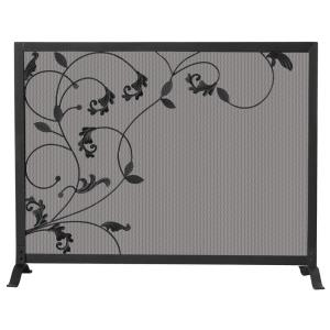 39 Inch Single Panel Screen with Flowing Leaf Design