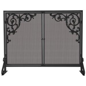 "39"" Single Panel Screen with Doors  and  Cast Scrolls"