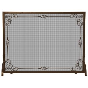 "44"" Single Panel Screen with Decorative Scroll"