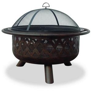 36 Inch Outdoor Firebowl with Lattice Design