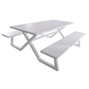 Banquet Deluxe 8-Seat Aluminum Picnic Table - White