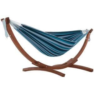 Double Cotton Hammock with Solid Pine Arc Stand