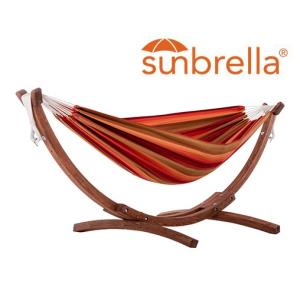 Double Sunbrella  Hammock with Solid Pine Arc Stand