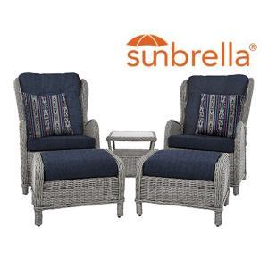 Southampton Rattan Sofa Conversation 5 Piece Set - Sunbrella